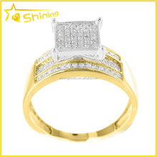 hot sale gold plated micro paved cz fashion ring hip hop men ring anillos de plata 925