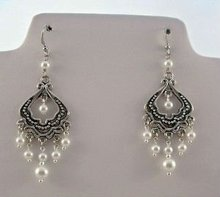 Customized handmade earrings from egyptian silver with natural beads
