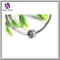 New design genuine 925 sterling silver embossed skull charm wholesale fit bracelets