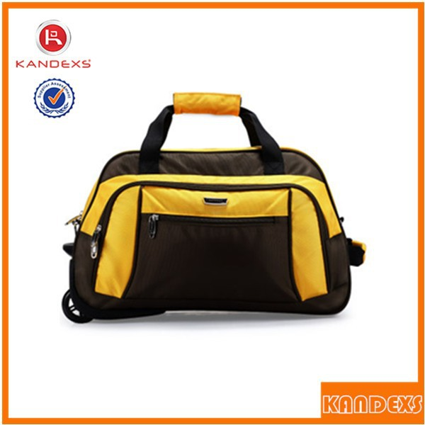 Guangzhou Manufacturers Trolley Luggage Travel Bags Foldable Nylon Travel Bag With Trolley