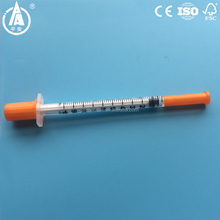 Disposable 0.3ml and 0.5ml 1ml colored insulin syringe with orange cap