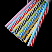 Disposable colourful striped PP hard plastic reusable drinking straw for juice