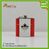 6oz designer liquor stainless steel hip flasks with leather case