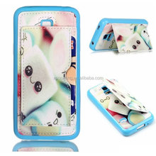 TPU leather case back cover for Samsung Galaxy S5 mini, Credit card cover for Samsung G800