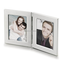Double Sided Silver Metal Folding Photo Frames