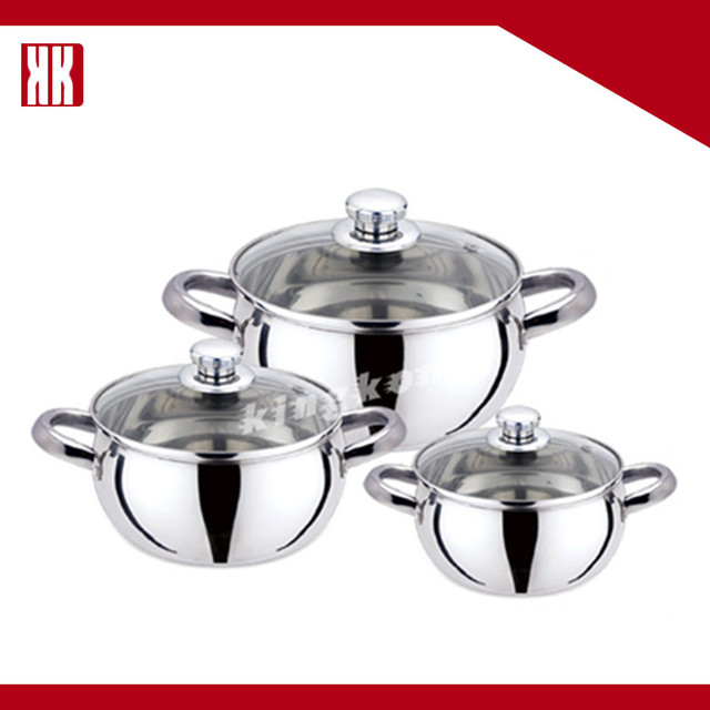 Home Using Mirror Polished Small Stainless Steel Cooking Pot With 2 Handles And Lid