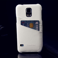 Real leather case for samsung galaxy s5,hard case with leather on the back,made by leather case master 2014