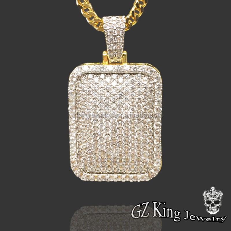 New Arrival! 925 silver jewelry full iced out CZ diamond men's gold pendant with Franco chain