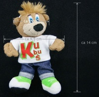 14*9.5cm promotional customized good quality stuffed plush KUBUS doll mascot keychain with printed T-shirt/jeans/sports shoe