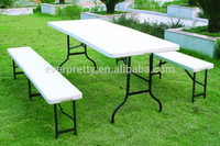 Outdoor bench table for public park, dining table with double garden chairs, sale cheap plastic table chairs