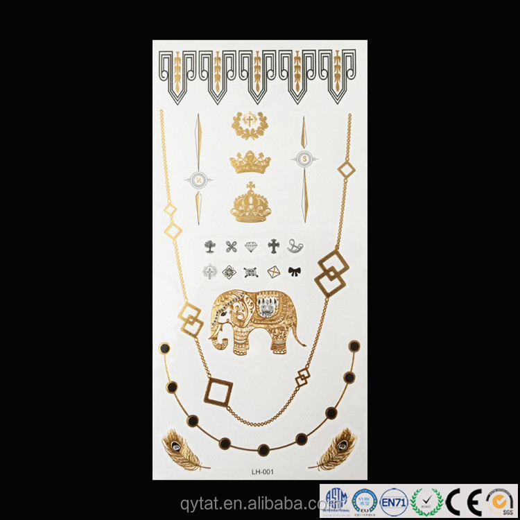 Wholesale Gold Foil Custom Temporary Tattoos in bulk