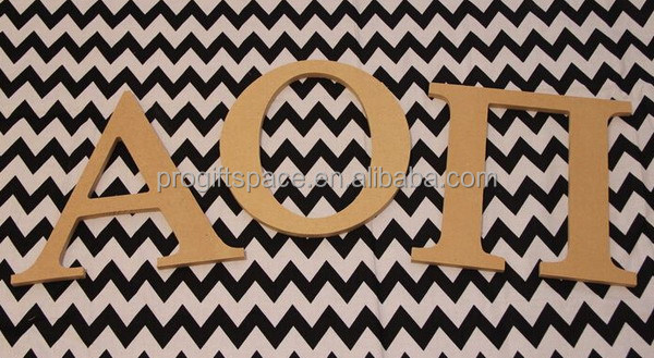 2016 New product wooden alphabet design hot sale alpha/omicron/pi shaped wholesale fashion unique greek letter beads crafts