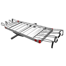 Folding aluminum hitch mounted cargo carrier