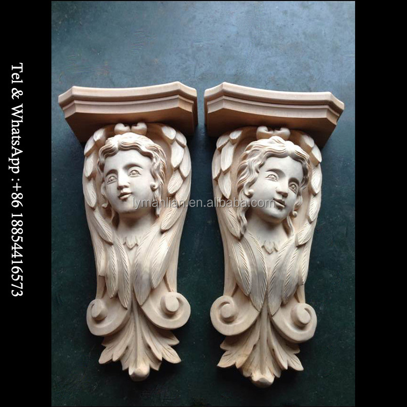 Antique Carved Animal People Wood Corbel