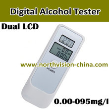 Digital electronic alcohol tester with dual LCD and clock showing