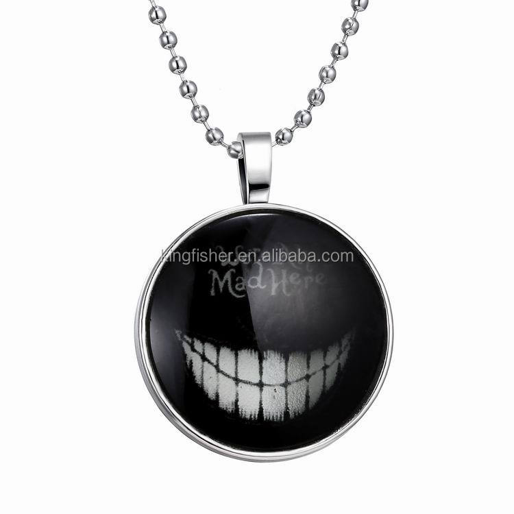 Horrible Halloween jewelry glass luminous smile pendant necklace glow in the dark necklace