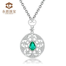 Factory Price Gemstone Point Pendants Natural Emerald Diamond Jewelry SP0409
