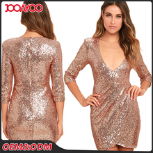 2017 Custom Fashion Deep V Neck Sexy Lady Short Party Dresses Women Club Rose Gold Sequin Dress