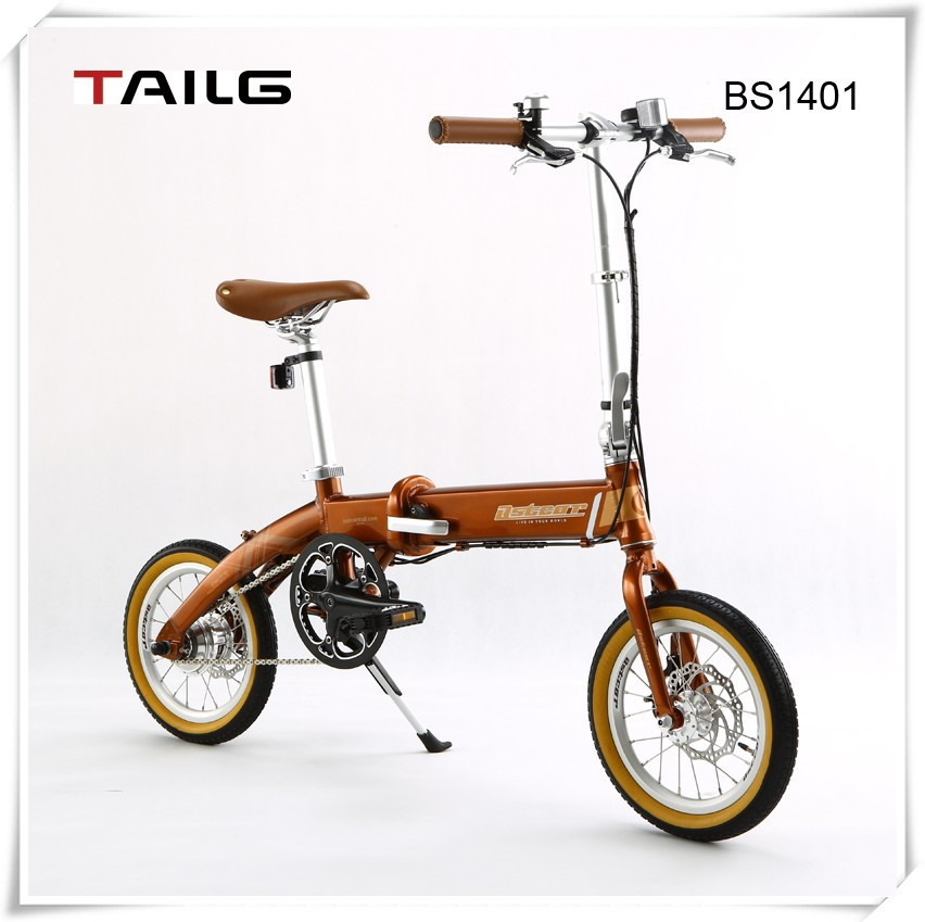 14 inch 250w folding electric bike tailg pocket bike with lithium battery electric bicycle for sales BS1401