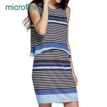 Durability stripe O neck loose sleeveless double layer maternity nursing dress