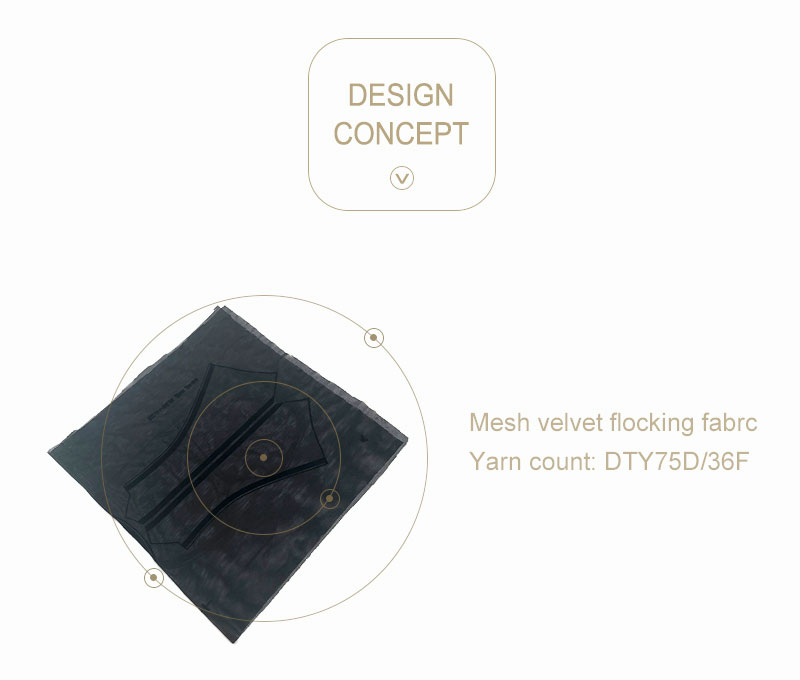 Black Mesh 4 Way  Stretch Velvet Flocking Fabric For Home Textiles