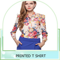 Loose blouse 2016 new fashion design long sleeve printed chiffon shirt lady tops blouse plus size
