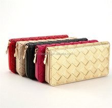 colorful Korean woven grain leather wallet women ladies purse with id card holder clutch bag