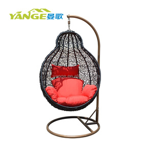Single Seat Garden Furniture Outdoor Rattan Wicker Patio Hanging Swing Egg Chair with Stand