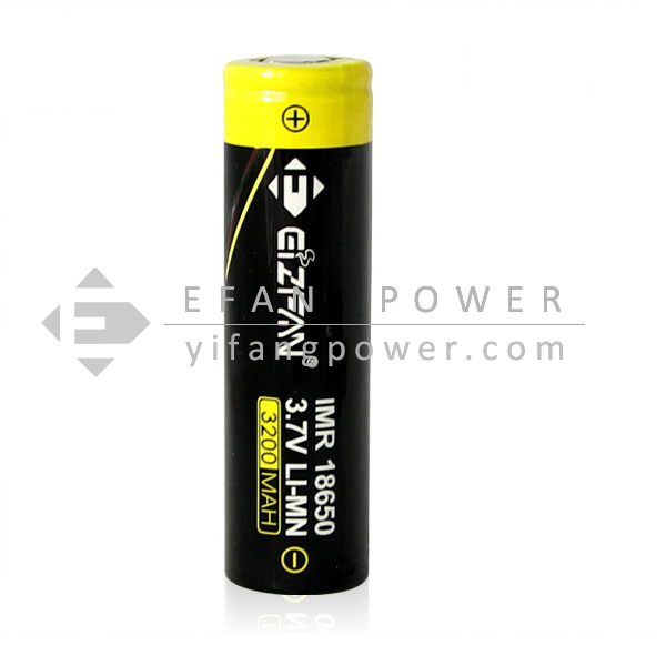 Shenzhen Efan Yellow 18650 Battery 3200mah 35A 3.7v Rechargeable Flat 18650 Battery For Smoking pipes
