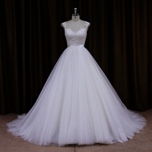 AK002 real picture of latest ball gowns design beauty long train bridal wedding dress