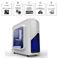 Best quality horizontal computer case atx gaming pc case with 14cm LED cooler fan