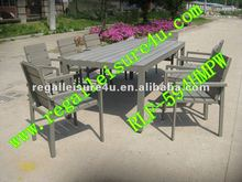 sell hotel use RLF-594HMPW polywood dining set outdoor garden plastic wood chair furniture set