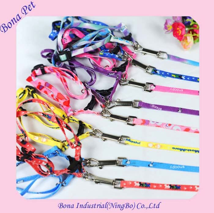 Wholesale Nylon Printing Small Dog Cat Puppy Harness and Leash In European