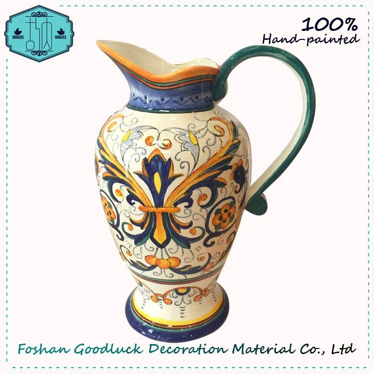 Hand Painted Wide Mouth Single Handles Pakistani Vase Home Decoration