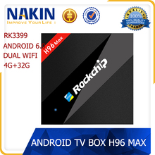 2017 New arrival H96 MAX RK3399 six core 4GB RAM 32GB ROM android 6.0 smart tv box RK3399