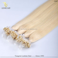 2015 hot selling 100% remy Best Quality Full Cuticle micro fiber hair extensions