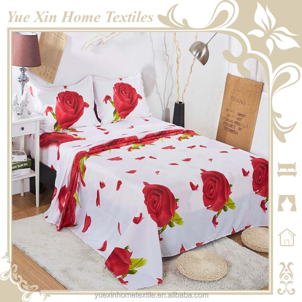 3D white red rose bed sheet set in reactive printing twill full queen king size