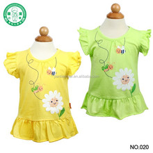 0-2 years Fashion Ruffled sleeves cotton/spandex Short Sleeve Baby Girls Printed T-shirt