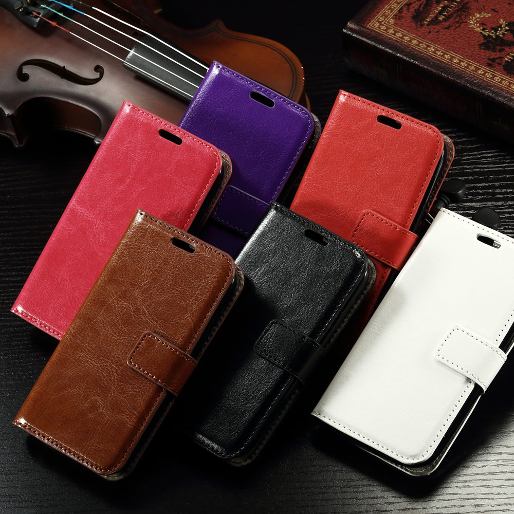 Colorful Oil Crazy Horse wallet holster bumper leather flip phone cover for alcatel one touch pop c5 case