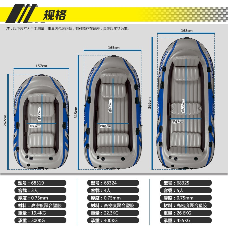 Intex Sport Series Inflatable Boat Excursion 4/5 Set and Accessories
