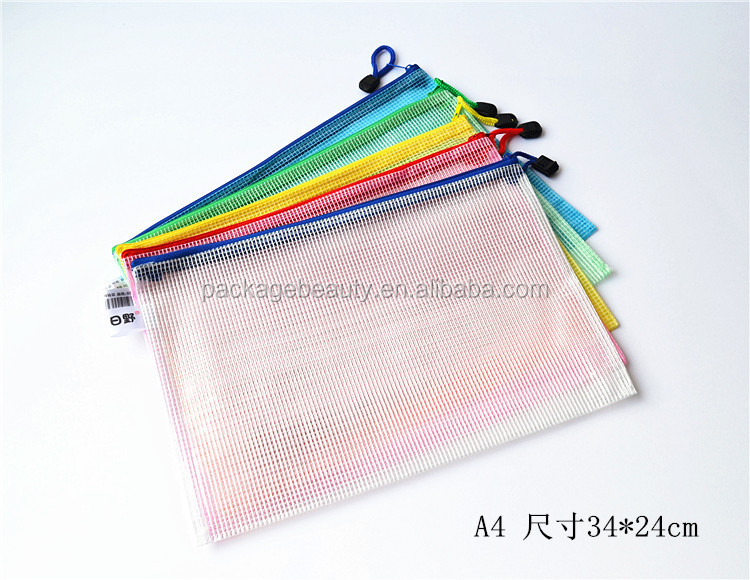 B4 A4 B5 A5 A6 PVC File Zipper Bag PVC Mesh Zipper Document Bags
