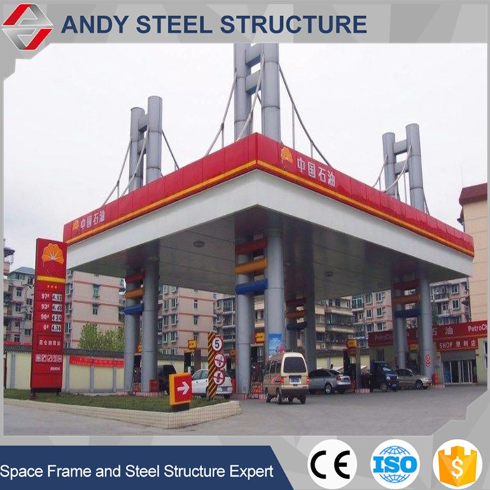 Steel frame structure roofing petrol station construction