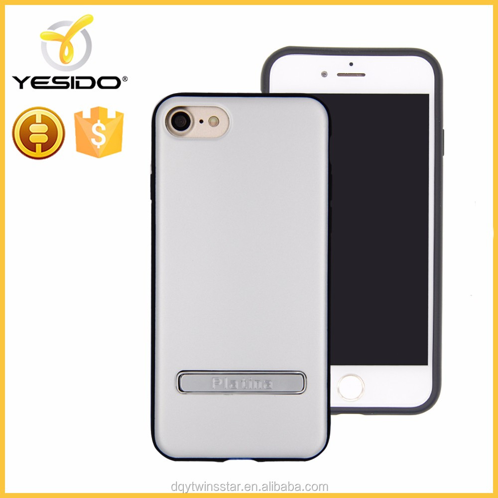 2017 Platina PC + TPU mobile phone case with kickstand for iphone 7 silver