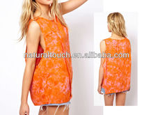 2013 fashion women Vest with Drop armhole in tie dye print - natural clothing blouse(YT10014)