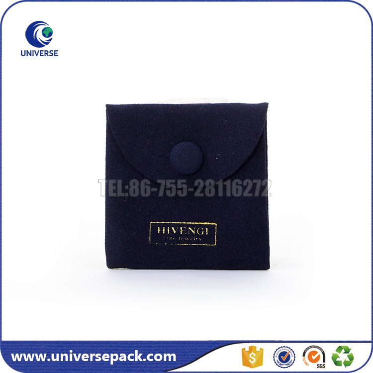 Custom logo purple flap suede envelope button bag for jewelry