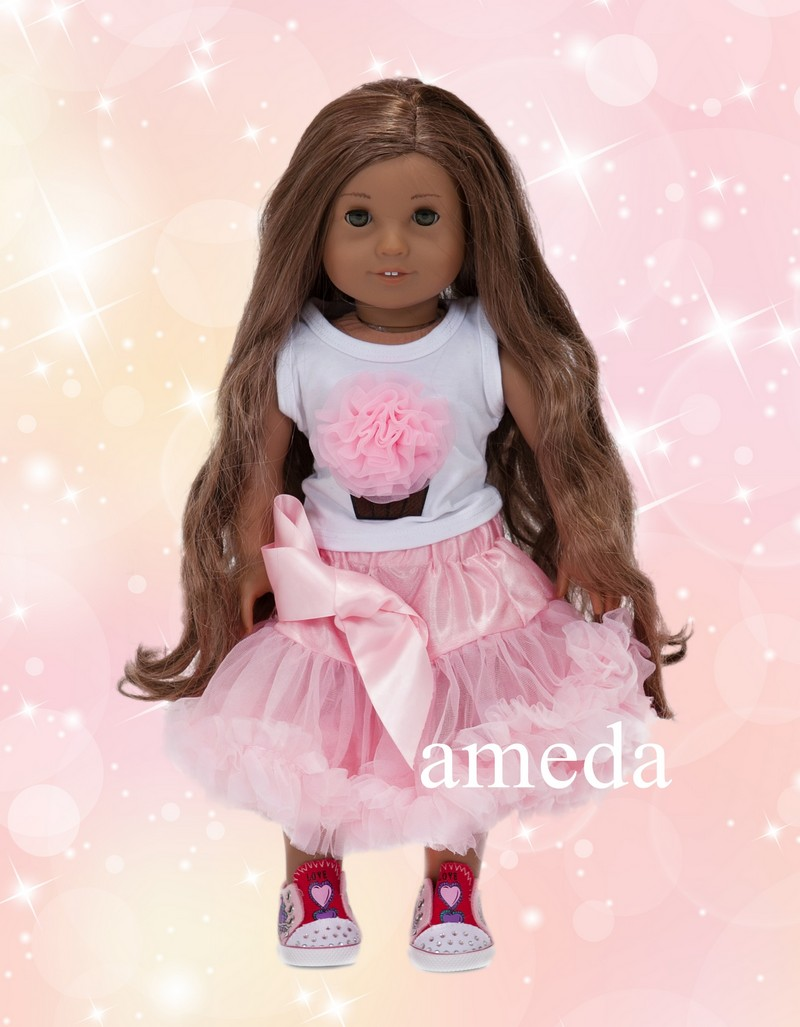 "18"" American Girl Doll Light Pink Cupcake Tee Pettiskirt Birthday Party Dress"