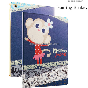 Color Printing Folio Stand PU Leather Case for iPad, Smart Flip Cover Case for iPad2 3 4 (Dancing Monkey)