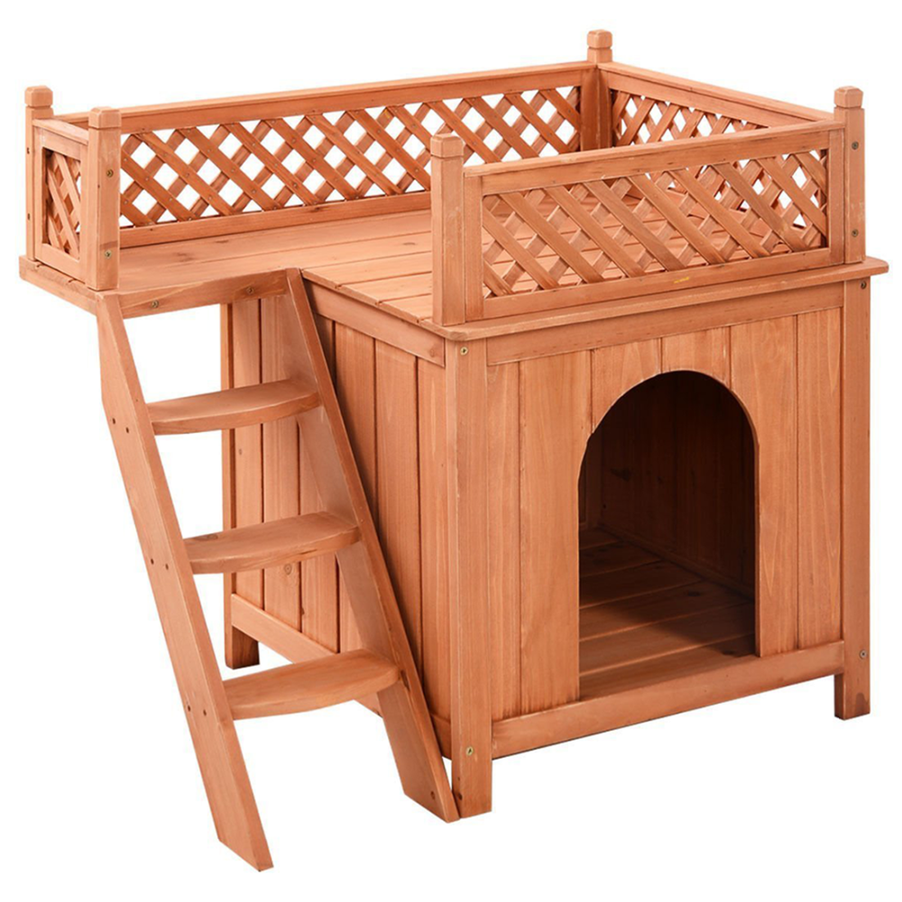 China manufacturer flat roof solid wood dog house dog kennel