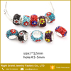 Customized Flower Crystal Paved Big Hole European Style Crystal Charm Beads