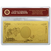 Exquisite Handicrafts Japan 5000 Pure 24k Gold Banknote For House Decoration And Business Gift